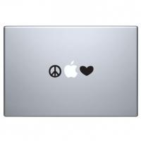 виниловая наклейка на macbook мир и любовь