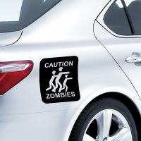 виниловая наклейка на авто Осторожно Зомби