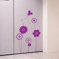 наклейка на стену Цветы и бабочки