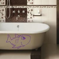 Виниловая наклейка Акула мультяшка